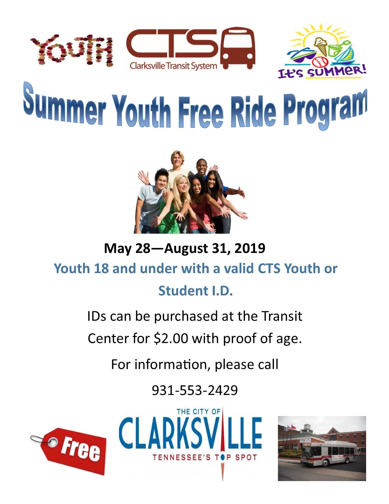 2019 Youth free ride program flyer