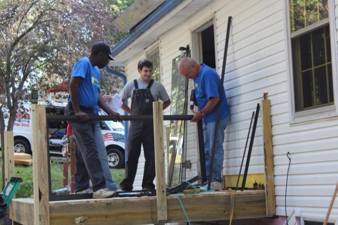 Volunteers Building a Deck